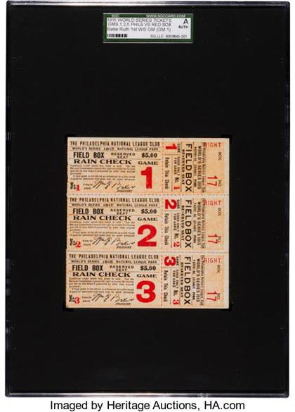 This image is shown for reference only and is not included in the lot. It shows the original block of three full tickets.