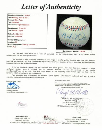 e82b4bbffcb Striking Babe Ruth Single-Signed Ball