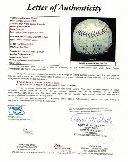 1924 World Series Champion Washington Senators Team Ball with (26